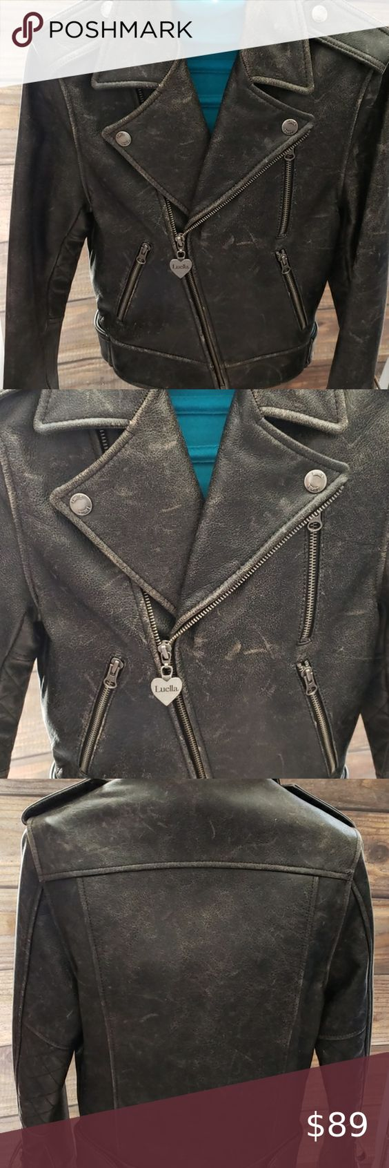 Luella Leather Moto Biker Jacket Moto Biker Jacket Jackets Biker Jacket [ 1692 x 564 Pixel ]