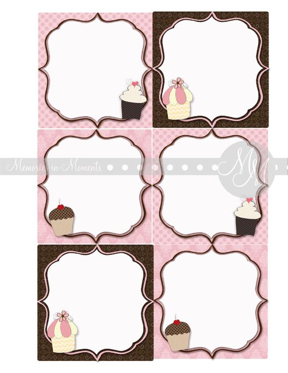 Cupcake tags appx 35 inch square bake sale squares and tags for Bake sale labels