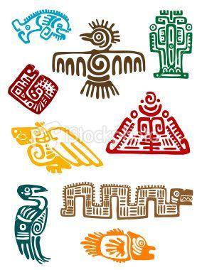 Abstract maya symbols Royalty Free Stock Vector Art Illustration