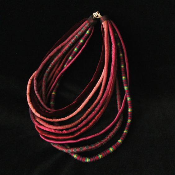 Alcyone - silk and velvet cord necklace