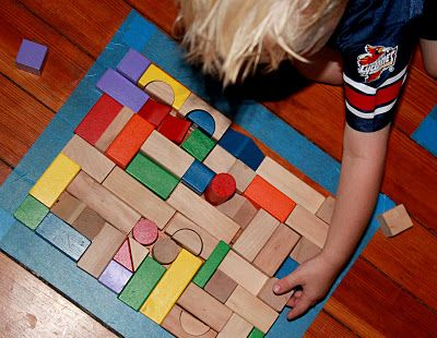 Floor Puzzles: Get out your painter's tape and blocks for these floor puzzles from Hands On: As We Grow. Challenge the kids with simple shapes like squares and the grownups with more difficult shapes, like stars. : Kids Activities, Preschool Ideas, Kids Play Ideas, Learning Activities, Activity Floor, Block Play, Block Puzzles, Learning Activity, Floor Puzzles