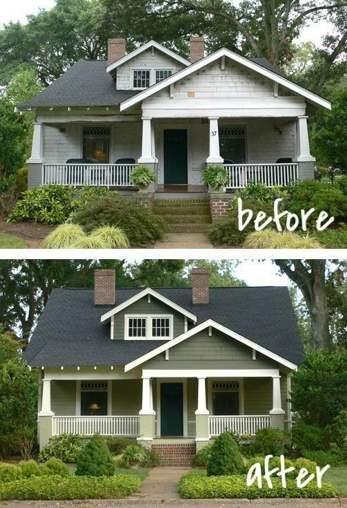 20 Home Exterior Makeover Before And After Ideas Paint Colors Craftsman And Front Porches