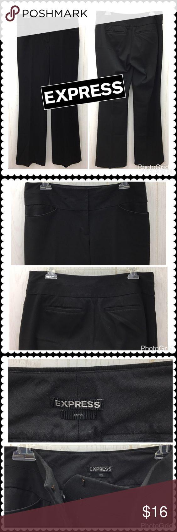 "Black dress slacks by EXPRESS Editor Sz 6 Long Black dress pants by EXPRESS. Editor. Long Inseam. Zip fly, hook waist. Sz 6 Long (16"" across waist, 33"" Inseam) Great for work! Express Pants Boot Cut & Flare"