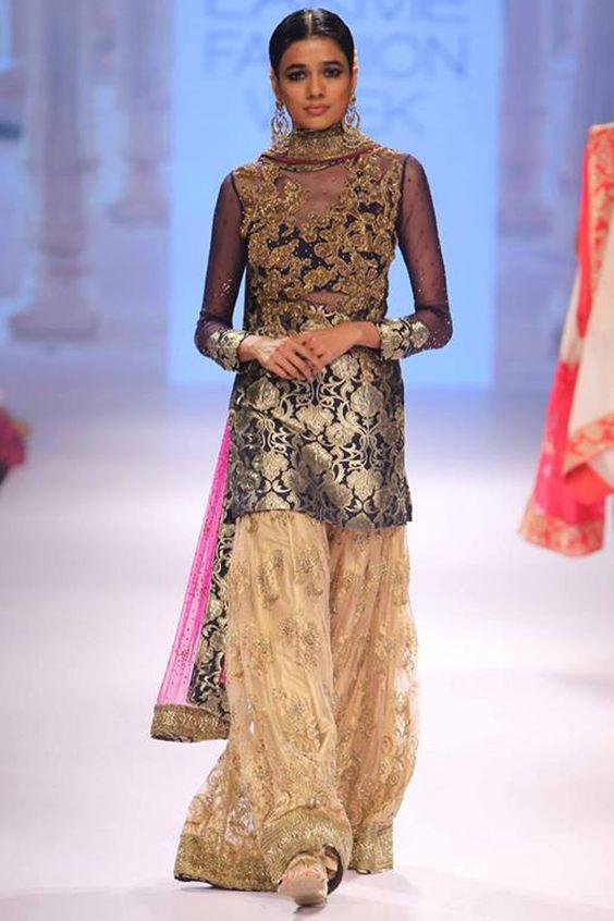 Neeta Lulla | Navy and gold embroidered kurta sharara set available only at Pernia's Pop Up Shop.