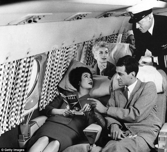 Relaxed: Passengers demonstrate the comfort of the new Comet 4 plane on August 28th 1958. The plane was being shown in Hatfield in the UK