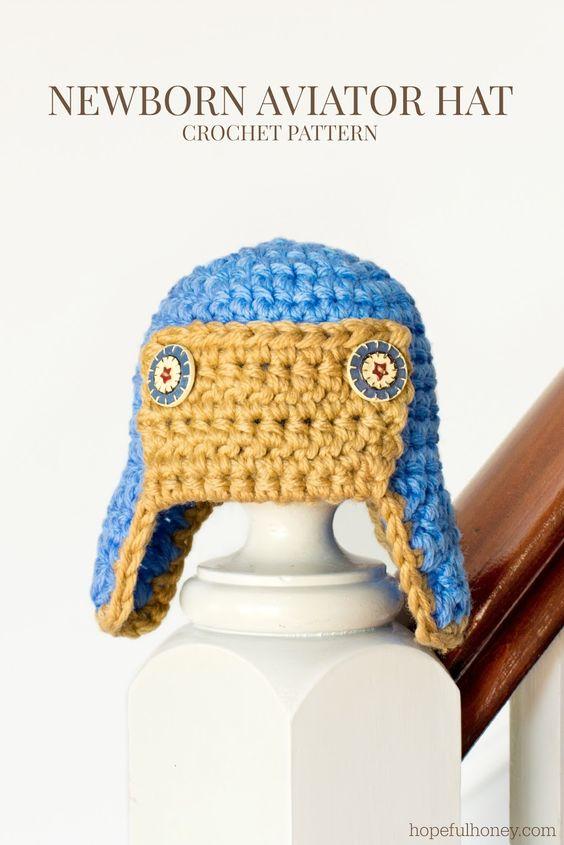 Newborn Aviator Hat Crochet Pattern   Patrones, Croché y Sombrero de ...