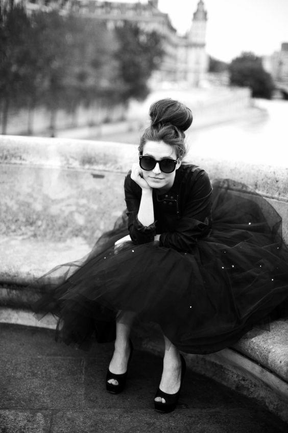 Tulle: Black White, Top Knot, Black Tutu, Big Bun, Black Dress, Black Tulle Skirts, High Bun