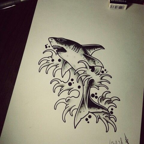 shark tattoo blackworks traditional draw desenhos e