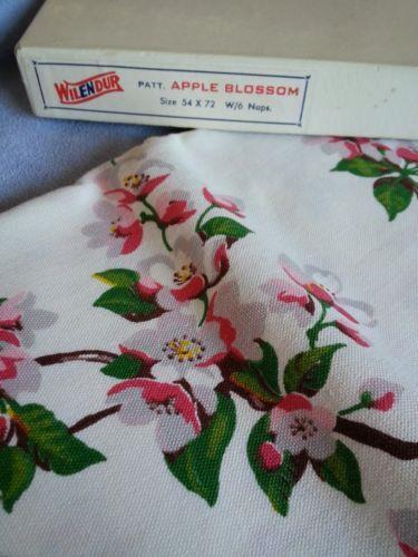 "Vintage Wilendur Tablecloth 6 Napkins Apple Blossom 54"" x 72"" | eBay"