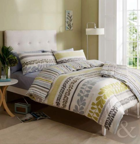 Striped Leaf Duvet Cover Cream Duck Egg Blue Grey Green