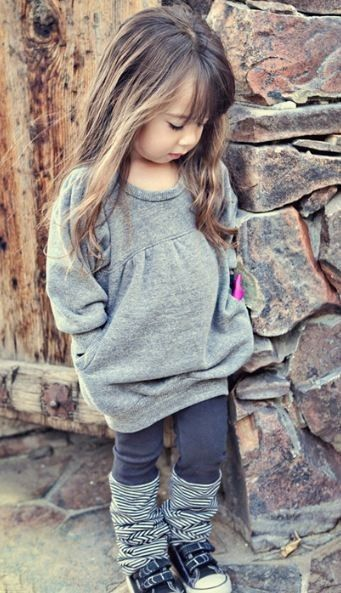 God, please at LEAST give me one lil girl!!!!!!!!!!!!!!!! Ashley Dress in Gray and Katey Leggings in Carbon by Joah Love - Shes so cute!: