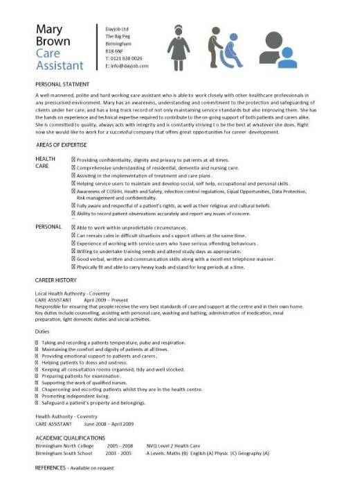 Dayjob Care Assistant Cv Template Job Description Cv Example Resume Bb26c895 Resumesam Nursing Resume Template Registered Nurse Resume Nursing Resume Examples