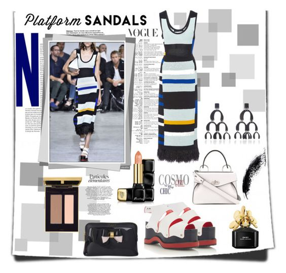 """Platform Sandals"" by emperormpf ❤ liked on Polyvore featuring Proenza Schouler, Guerlain, Ted Baker and Marc Jacobs"