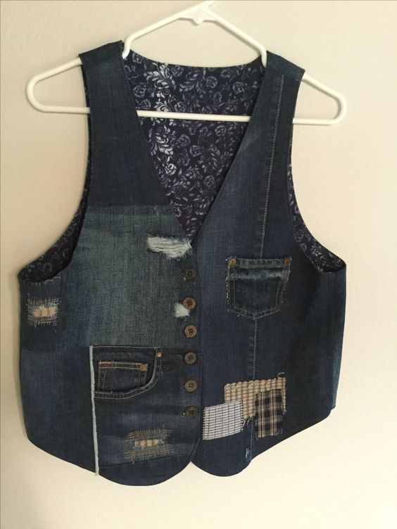 I made this vest from several pairs of old jeans. Debra Olson