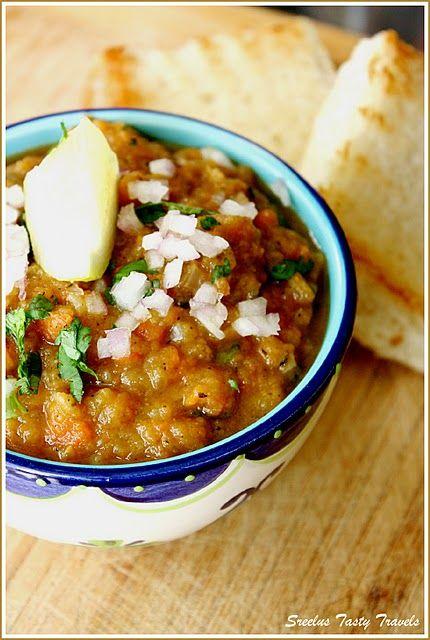 Pav Bhaji  Veg main dish. Mix curry of onion, capsicum, peas, cauliflower potatoes.