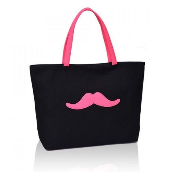Sweet Moustache Print and Canvas Design Women's Shoulder Bag (£11) ❤ liked on Polyvore featuring bags, handbags, shoulder bags, mustache purse, canvas purse, shoulder hand bags, canvas handbags and shoulder handbags