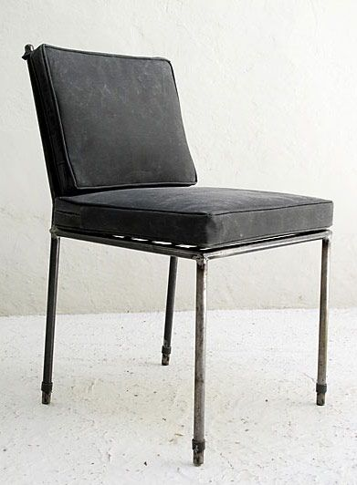 Love this lacquered metal side chair