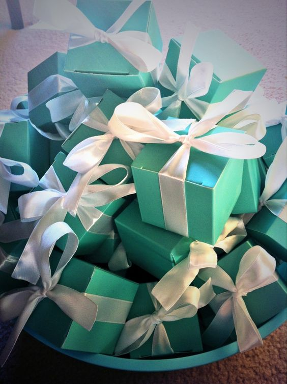 Tiffany Blue Boxes for table decor for a Tiffany & Co. Inspired Bridal Shower  For A COMPLETE TIFFANY AND CO. SHOWER visit: http://sandyssignatures.blogspot.ca/