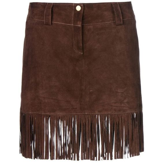 Mini skirts, Fringe skirt and Dark brown on Pinterest