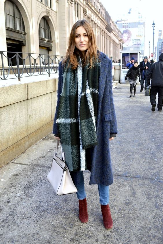 Plaid scarf + fuzzy long coat + burgundy boots