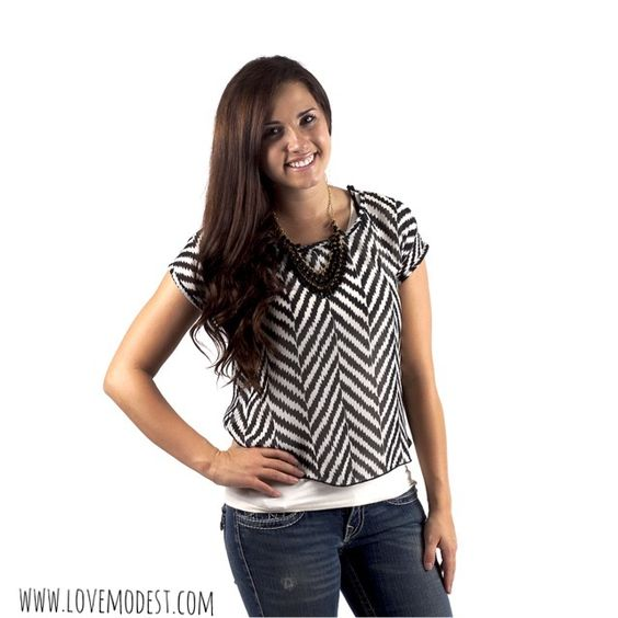 Black & White Chevron Shirt $21 www.lovemodest.com