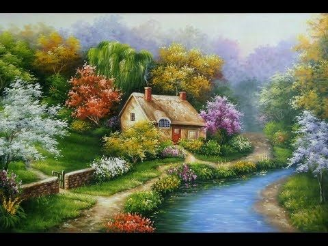 Painting A Beautiful Mountain Landscape With Acrylics Youtube Landscape Paintings Landscape Watercolor House Portrait