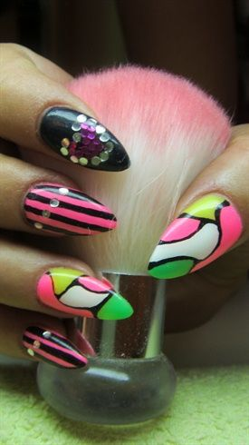 Multicoloured Nail Art #Nails #nailart