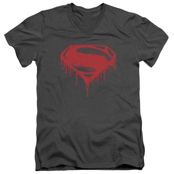 BATMAN V SUPERMAN SPLATTERED Adult V-Neck T-Shirt