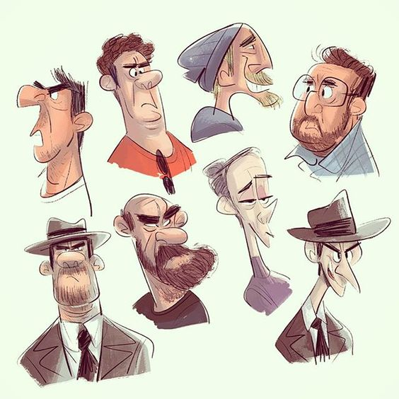 Character design by Liz Murphy — Some messy doodles. #characterdesign #cartoon #art #people #sketch #sketching #drawing #doodle