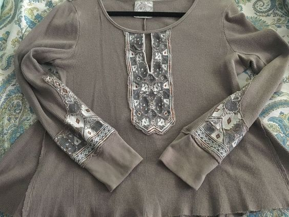 FREE PEOPLE THERMAL MARION EMBROIDERED TOP L TAUPE #FreePeople #Thermal