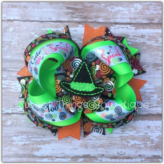 Halloween hair bow, witch hair bow, trick or treat hair bow, fall bow, to cute bow, stacked hair bow, OTT bow, Halloween,little gorls