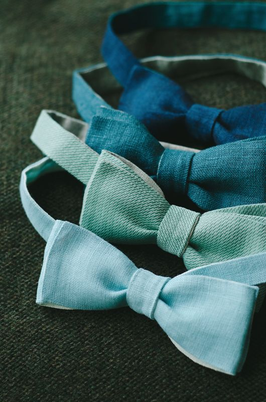 teal wedding bow ties, ombre. Opposite for ombre bridesmaids dresses