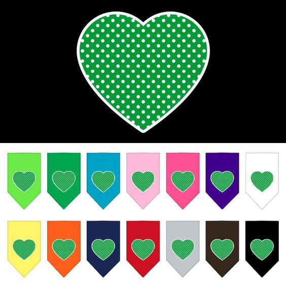 Green Swiss Dot Heart Screen Print Dog Bandana