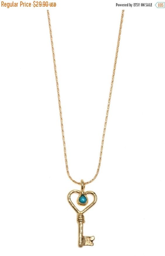 WINTER SALE Statement necklace with small heart key pendent, Free Shipping, 14K Gold Filled / 14K Gold plated or Silver necklace with heart