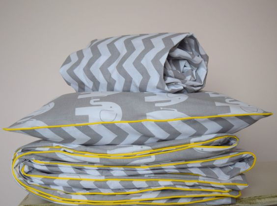 100%COTTON Cot Bed Duvet Cover Set & Fitted Sheet Grey Chevron Elephants nursery | eBay