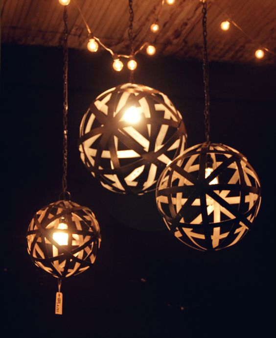 Round metal industrial pendant lights at City Home PDX.