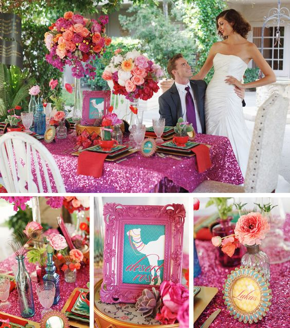 pink sequin table linen