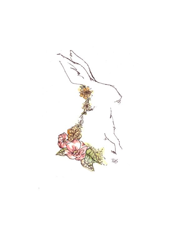 White Rabbit Watercolor and Ink Floral Giclee Print ~ White Rabbit in Artsy Pastel shop, via Etsy.