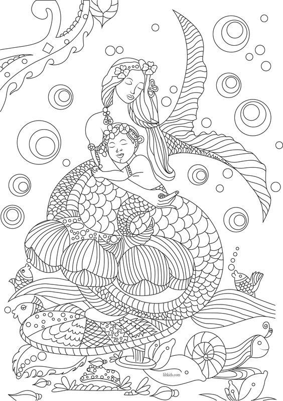 Free beautiful mermaid adult coloring book image from LiltKids.com!: