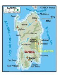 Map of Sardinia showing Ogliastra and Lotzorai
