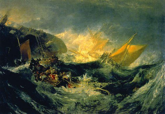 Joseph Mallord William Turner (1775-1851), Shipwreck of the Minotaur (Naufragio del minotauro), c.1810, Óleo/lienzo