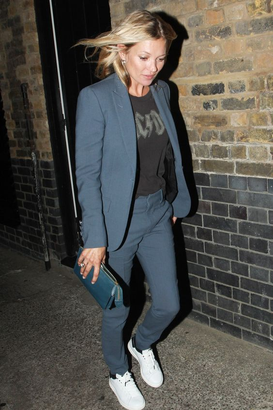 Best dressed - Kate Moss in a suit and sneakers