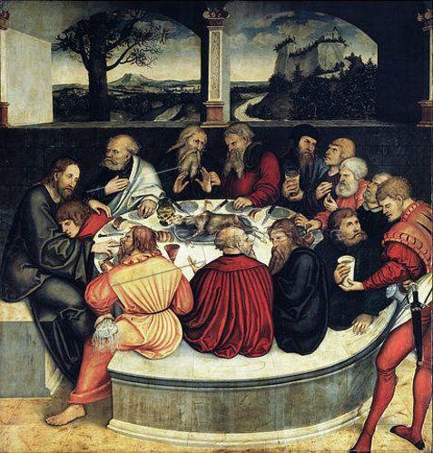 Last Supper, Lucas Cranach d.Ä., 1539. Note the servant's clothing