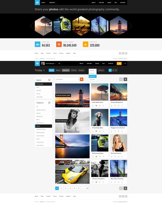 Snapshot is a Photography Community Concept UI Design. My main focus was to create a very good UX while keeping it minimal enough to optimize page speed, and maintaining an attractive and modern visual. Less is more approach.