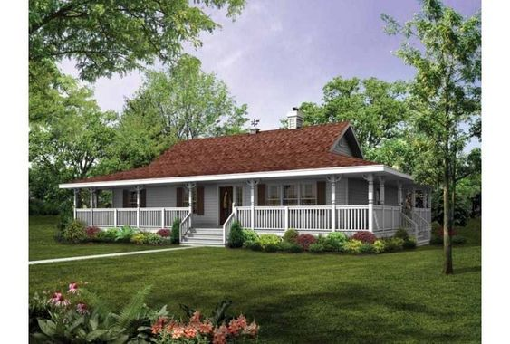 Wrap around porches porch ideas and porches on pinterest for Single story house plans with front porch