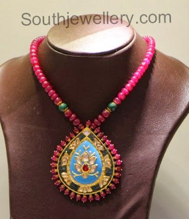 Ruby Beads Necklace with Pendant photo