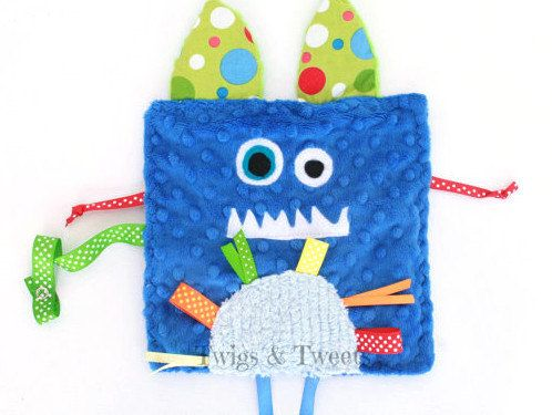 Monty the Silly Monster CRINKLE CRACKLE with ribbons and pacifier holder- Monogram Available- Minky Sensory Toy- Ribbon Toy- Blue boy toy