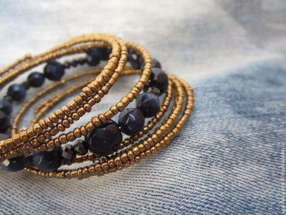 """Купить Браслет """"Скифский """" - тёмно-синий, синий браслет, мемори-проволока, спиральный браслет"""