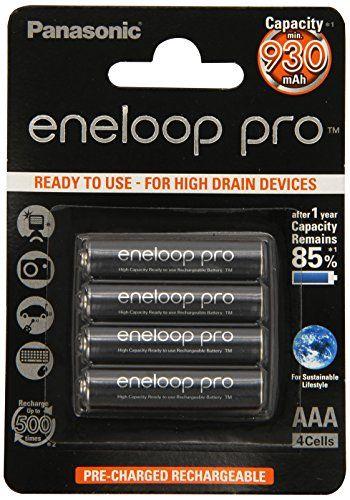 Panasonic Eneloop Set di 4 batterie ricaricabili 930 mAh, Nero