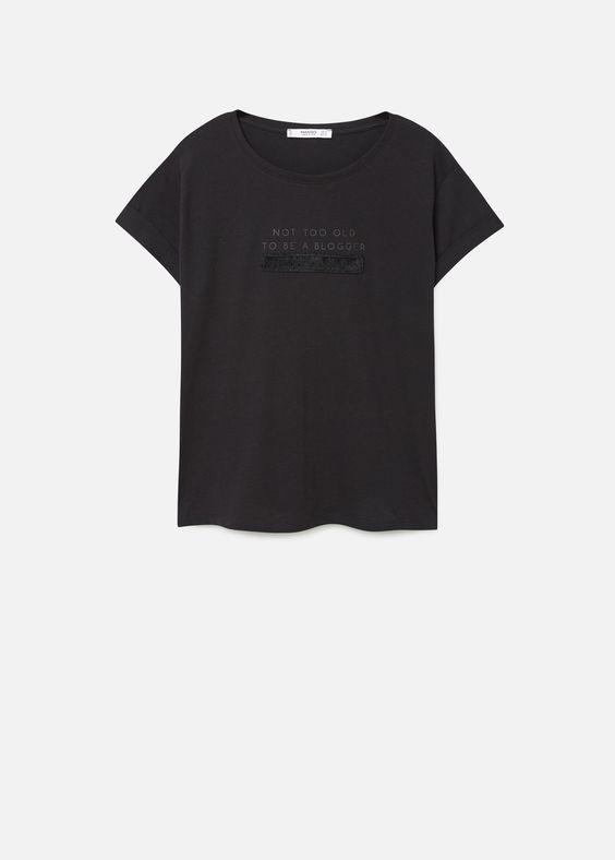 T-shirt mit schriftzug   MANGO